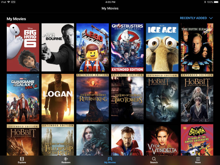 Movies Anywhere Amazon Video app on iPad