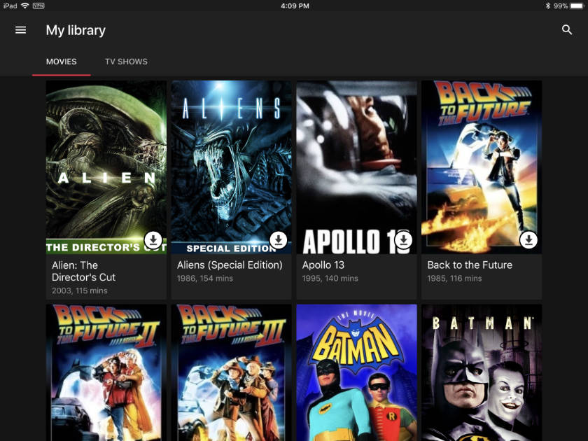 Google Play iPad app with Movies Anywhere
