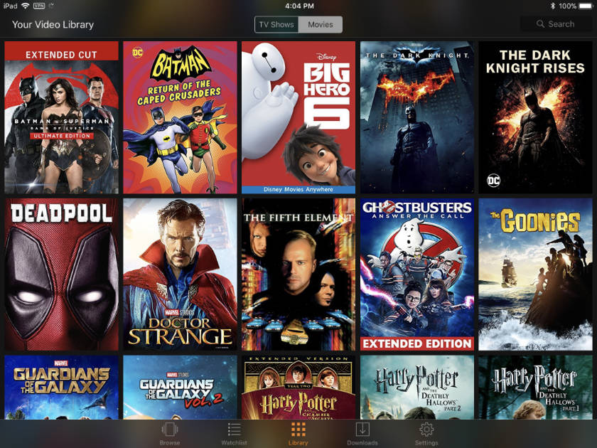 Movies Anywhere in TV app on iPad