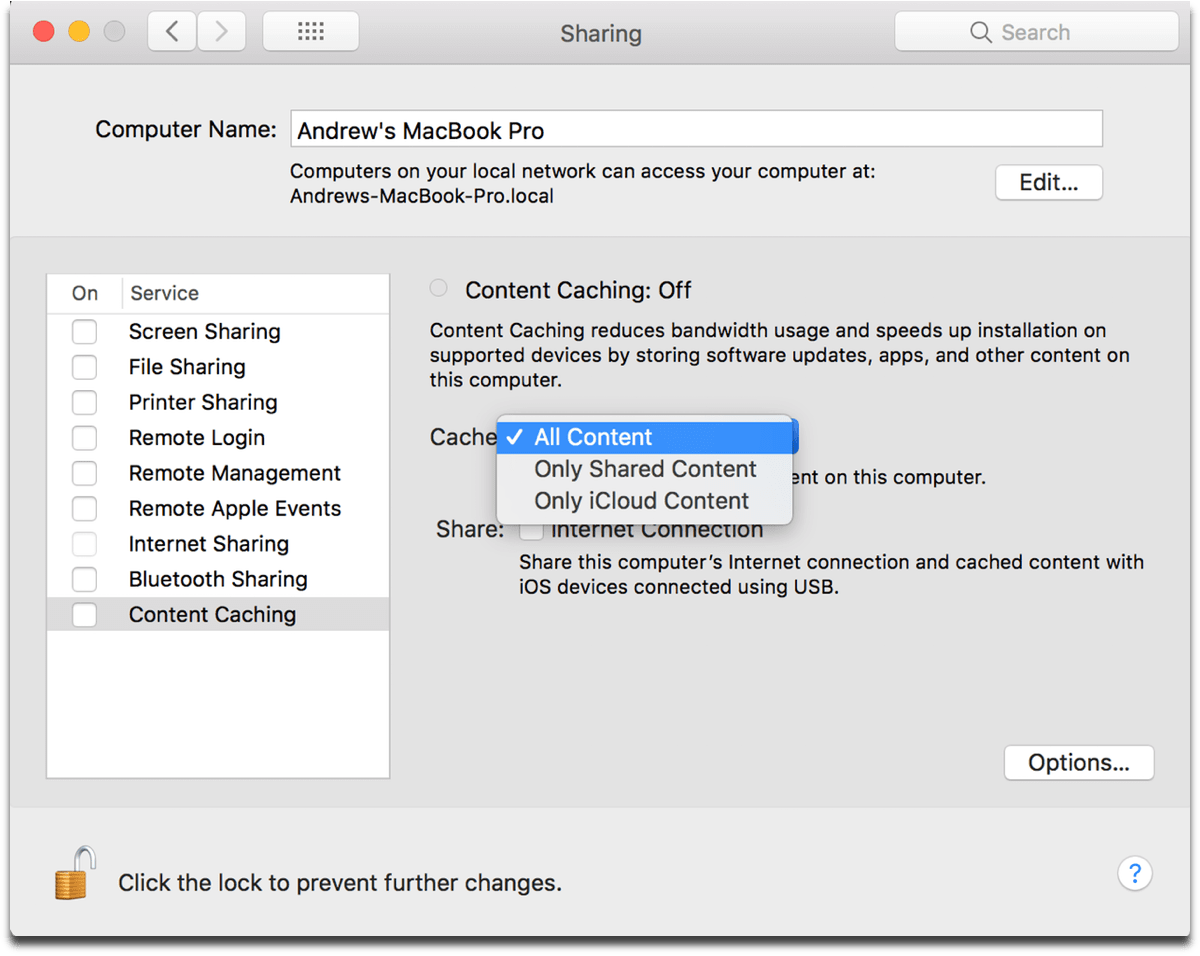 Screenshot of the new content caching menu in macOS System Preferences.