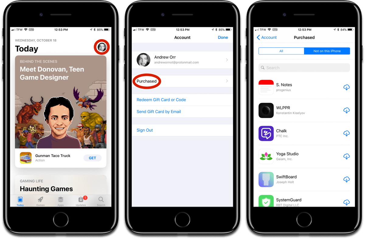 Location of the purchased apps list in iOS 11.