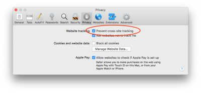 Prevent cross-site tracking setting in Safari on macOS High Sierra