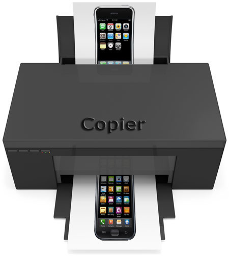 Copier with an iPhone going in and a Samsung Galaxy S coming out