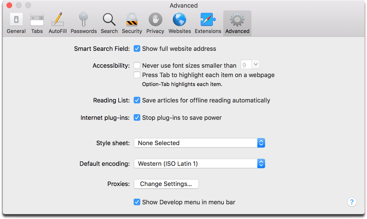 Showing the full website address in Safari preferences.