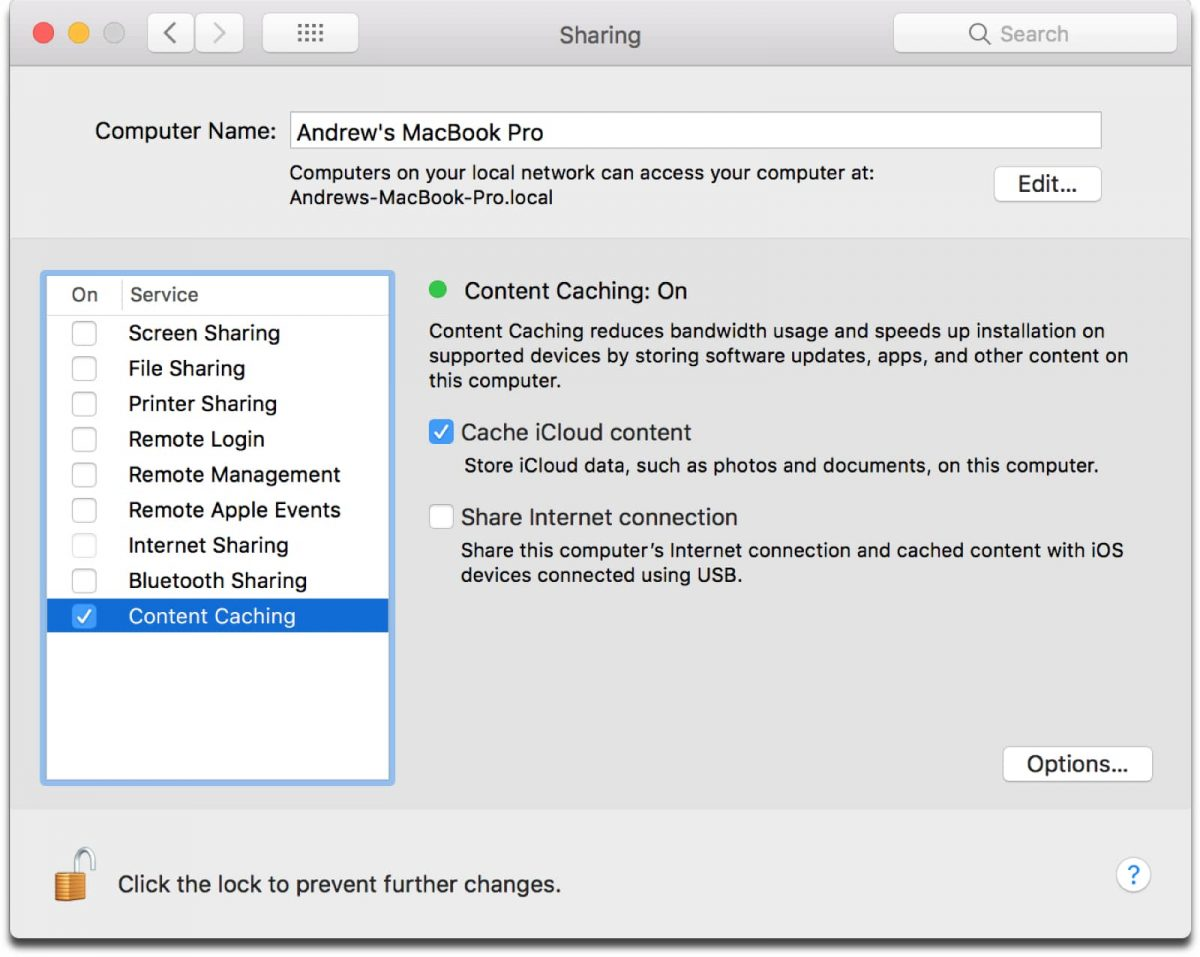 Turning on iCloud content caching in System Preferences.