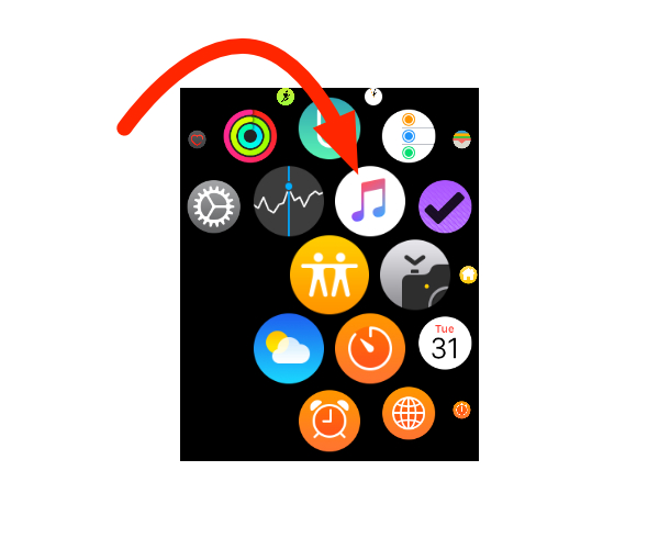 watchOS 4.1 Music app icon on Apple Watch