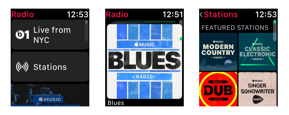 watchOS 4.1 Radio app screens on Apple Watch