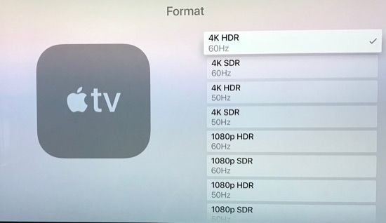 Apple TV video settings.
