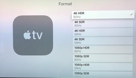 Apple TV video settings.