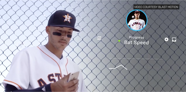 The Blast Baseball app measures bat speed and more.