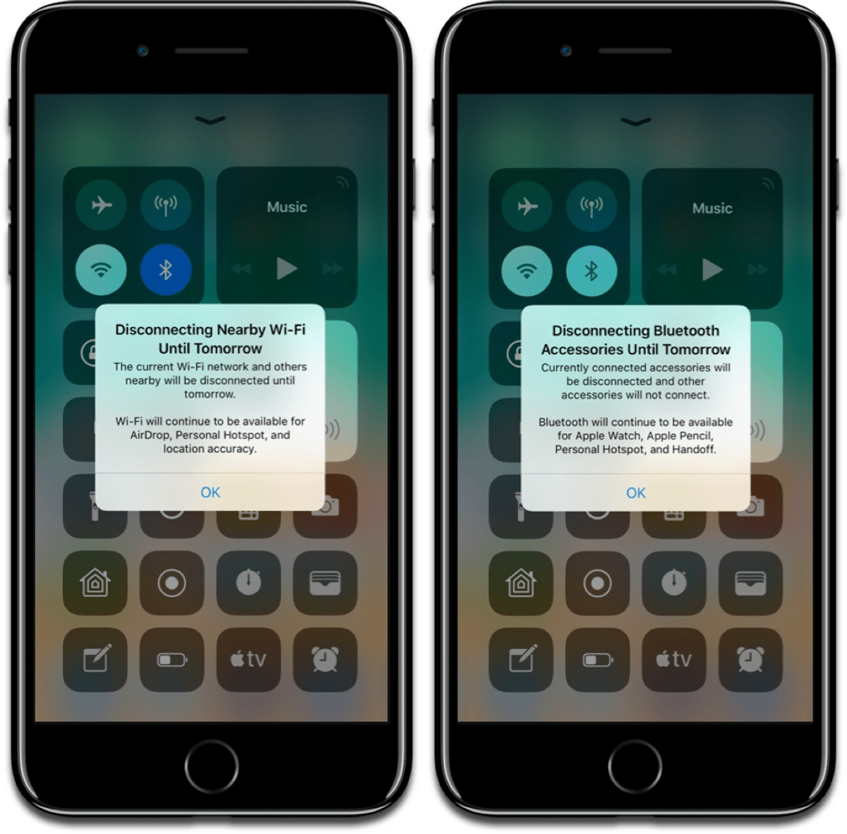 Screenshots of the new dialog box for the Bluetooth toggle and Wi-Fi toggle in Control Center.