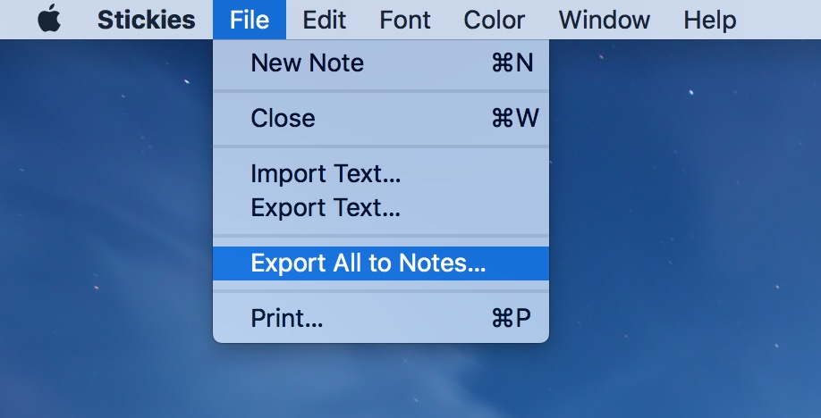 Export to Notes from Stickies via the Stickies File menu