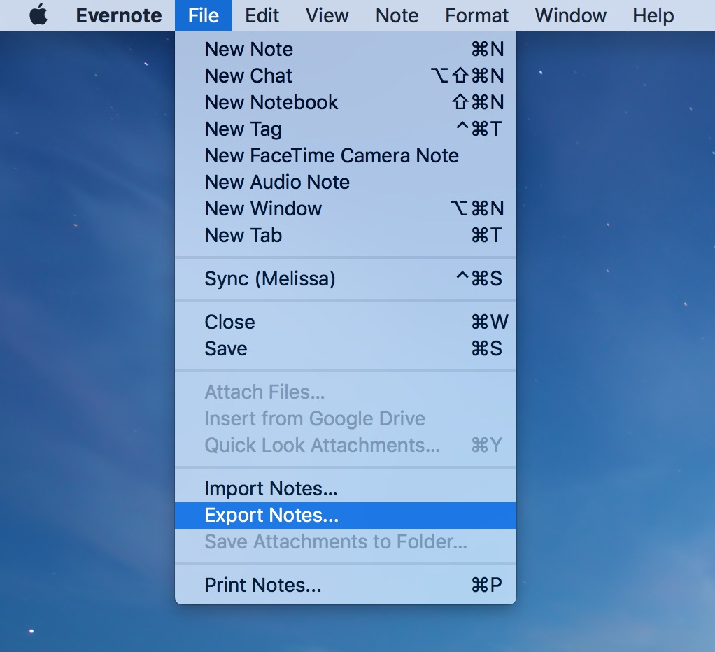 Export to Notes from Evernote uses the Export Notes option in Evernote