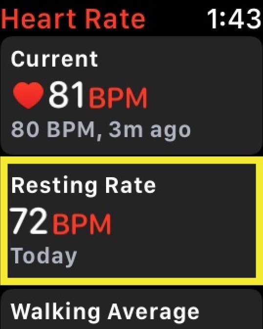 Resting Heart Rate on Apple Watch