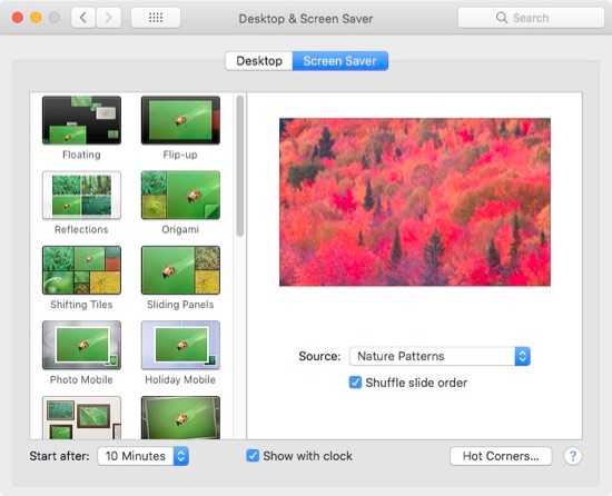 High Sierra Screen Saver preferences.