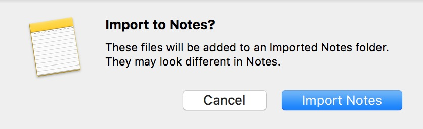 Import to Notes Confirmation Box