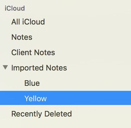 Sidebar in Notes showing imported Stickies