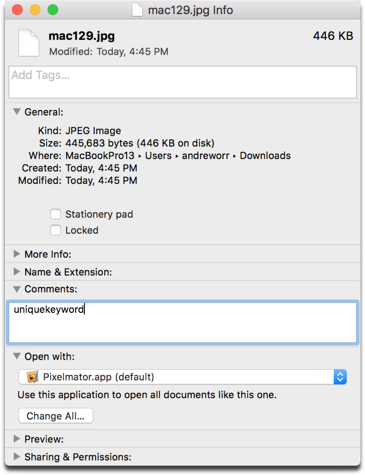 Use Get Info comments to enhance Mac file search.