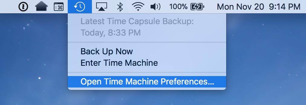 Time Machine Menu Bar Icon showing Preferences option