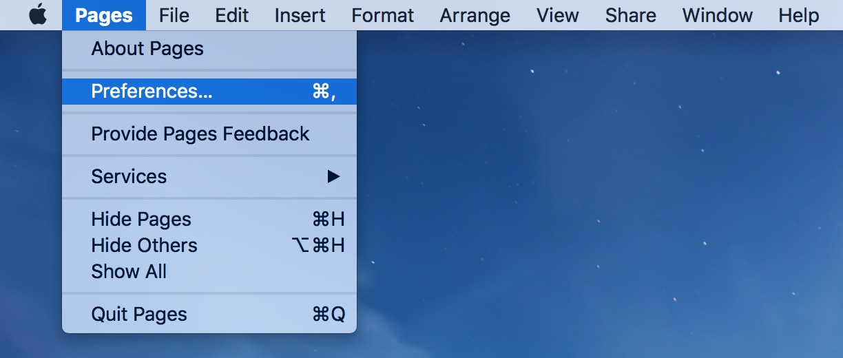Pages Menu showing Preferences where you can set linked text behavior