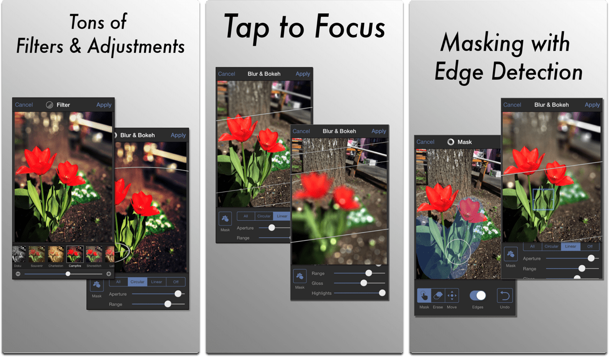 Screenshots of Tadaa SLR, a Portrait Mode bokeh app.