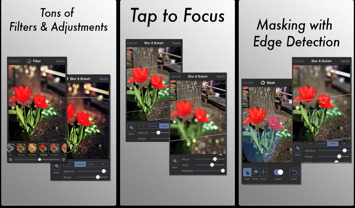 Screenshots of Tadaa SLR, a Portrait Mode bokeh app.