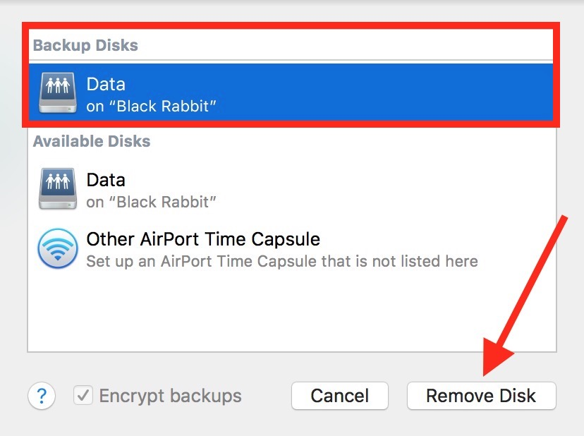 Time Machine preferences Remove Disk Button for removing a disk from your backup sets
