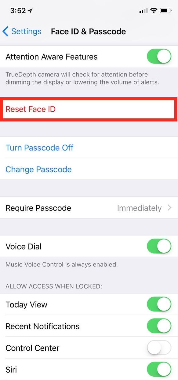 Reset Face ID option in iPhone X Settings