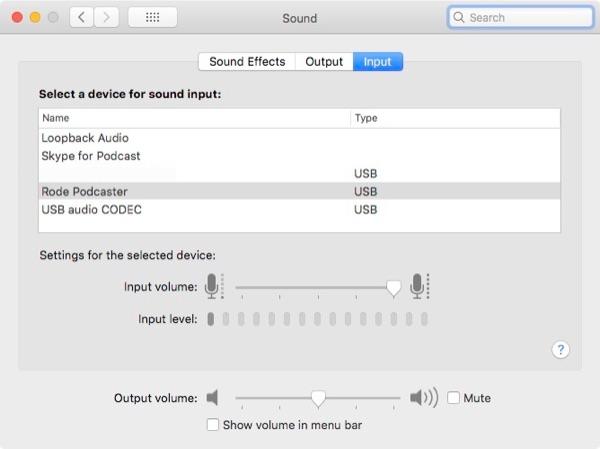 Sound input level.