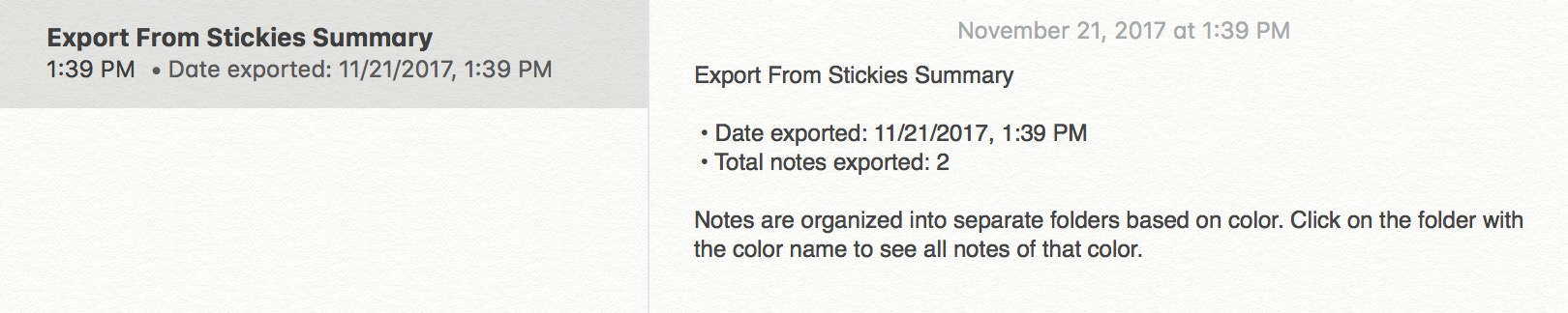 Summary Note showing what you imported after moving Stickies to Notes