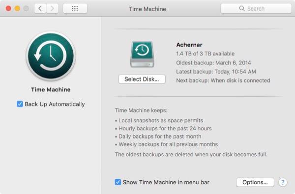 Time Machine message in error.