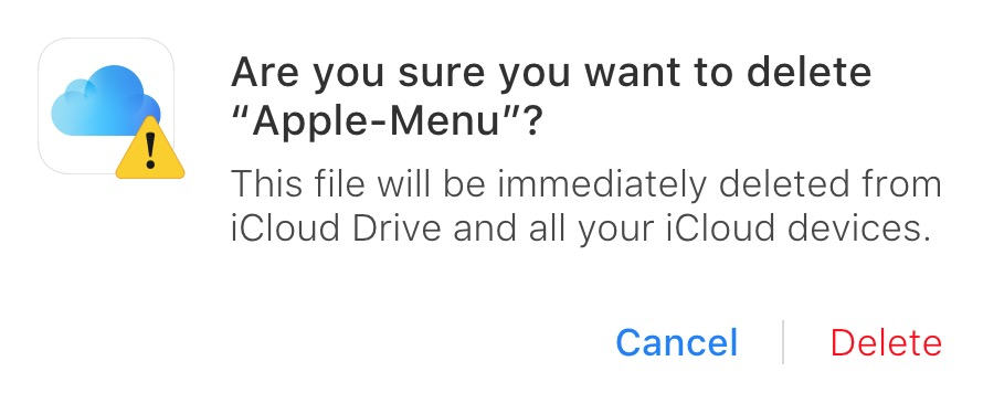 """iCloud Drive """"Are You Sure"""" Dialog Box warning you're about to permanently delete files"""