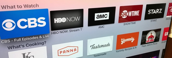 Apple TV highlighted streaming services.