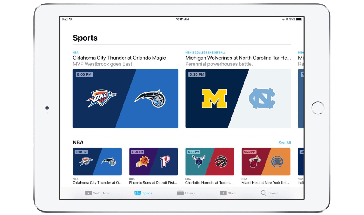 Apple TV sports on iPad.