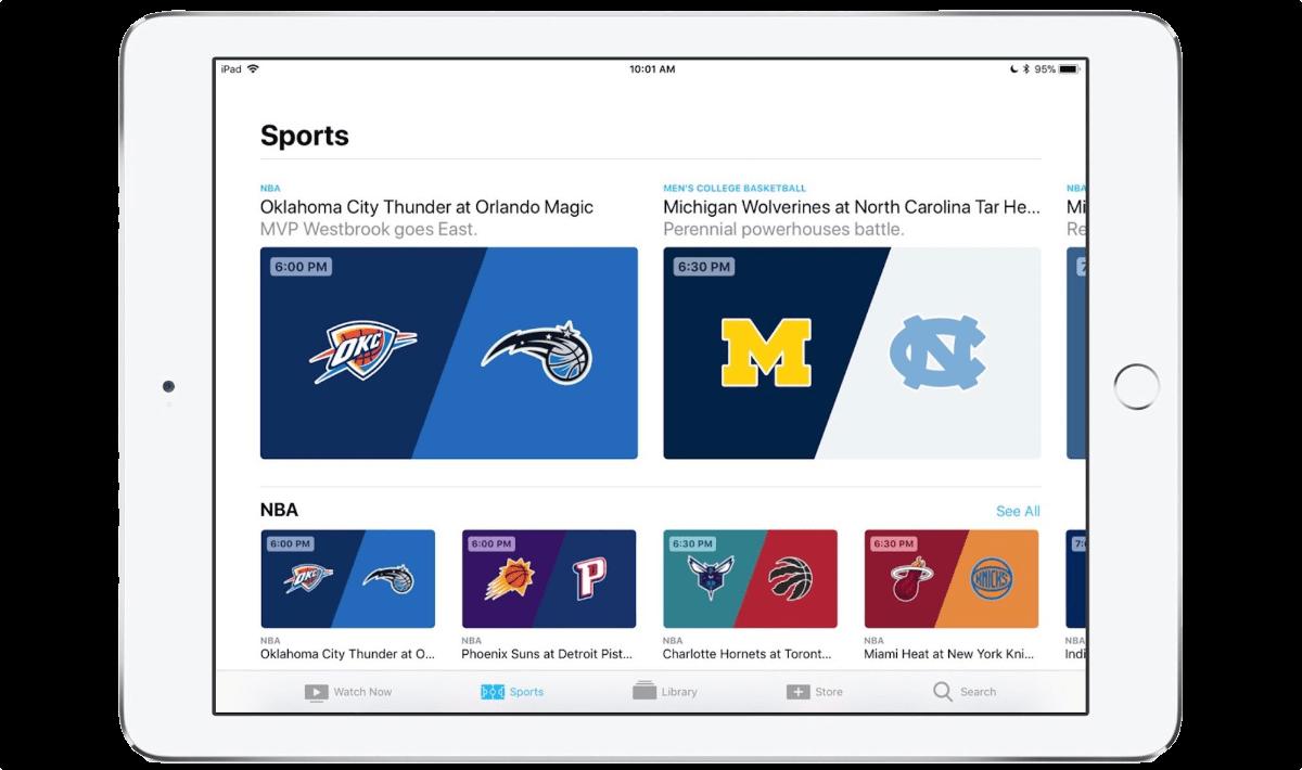 Apple TV sports on iPad.