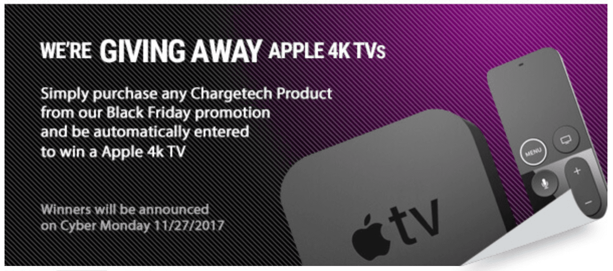 Screenshot of Apple TV 4K giveaway by Chargetech, one of the best Apple Black Friday deals.