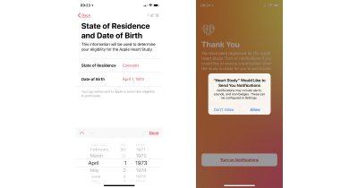 Apple Heart Study birthdate and notifications screens