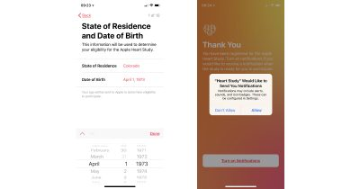 Apple Heart Study birthdate and notifications screens