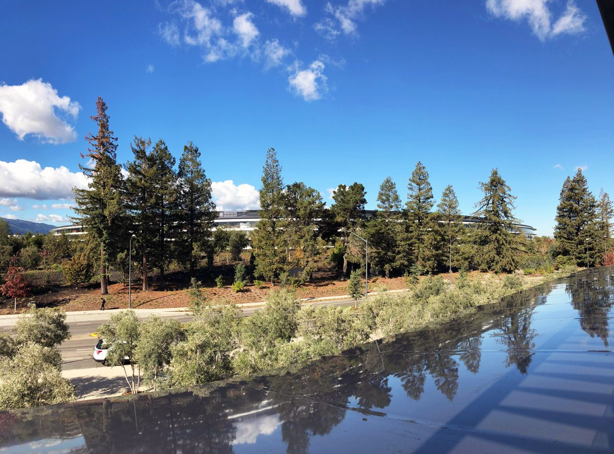 Looking at Apple Park from the Visitor Center's Observation Deck