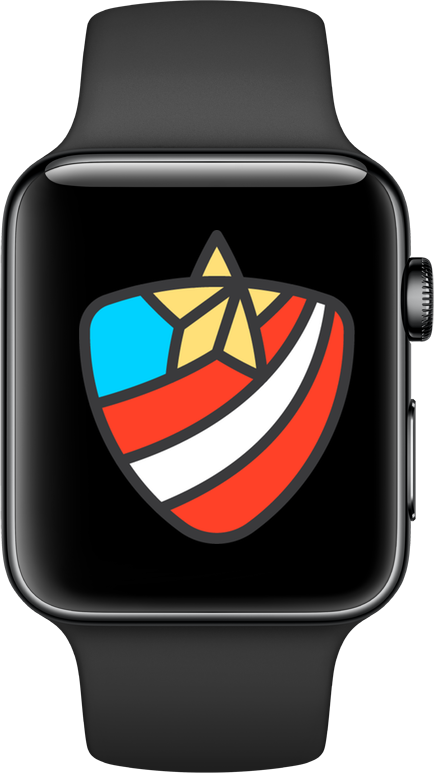 Image of the Apple Watch 2018 Veterans Day activity challenge badge.