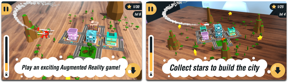 Screenshots of Arcade Plane, one of the AR video games on iOS.