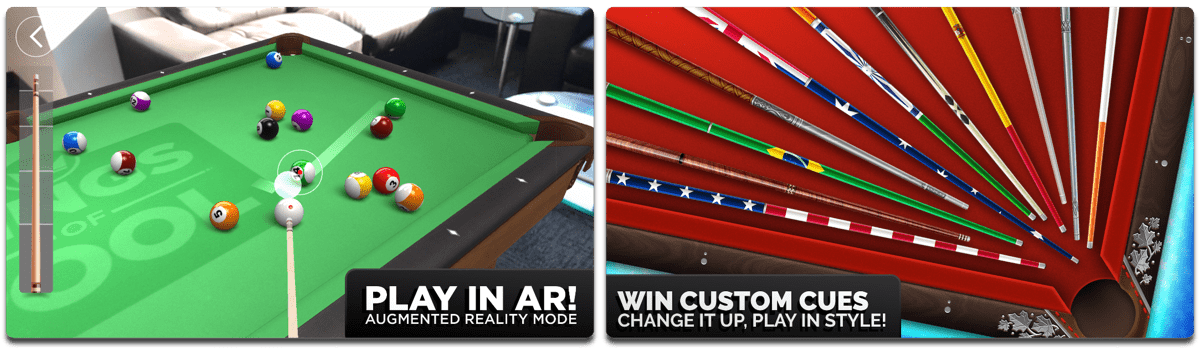 Screenshots of Kings of Pool, one of the AR video games on iOS.