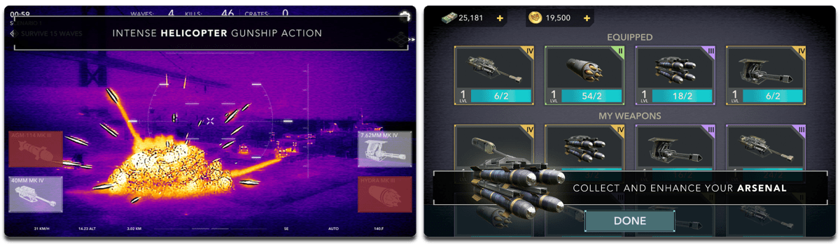 Screenshots of Zombie Gunship, one of the AR video games on iOS.