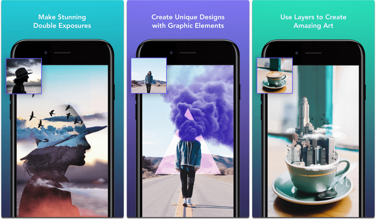 Screenshots of Enlight Photofox, one of the composite image apps.