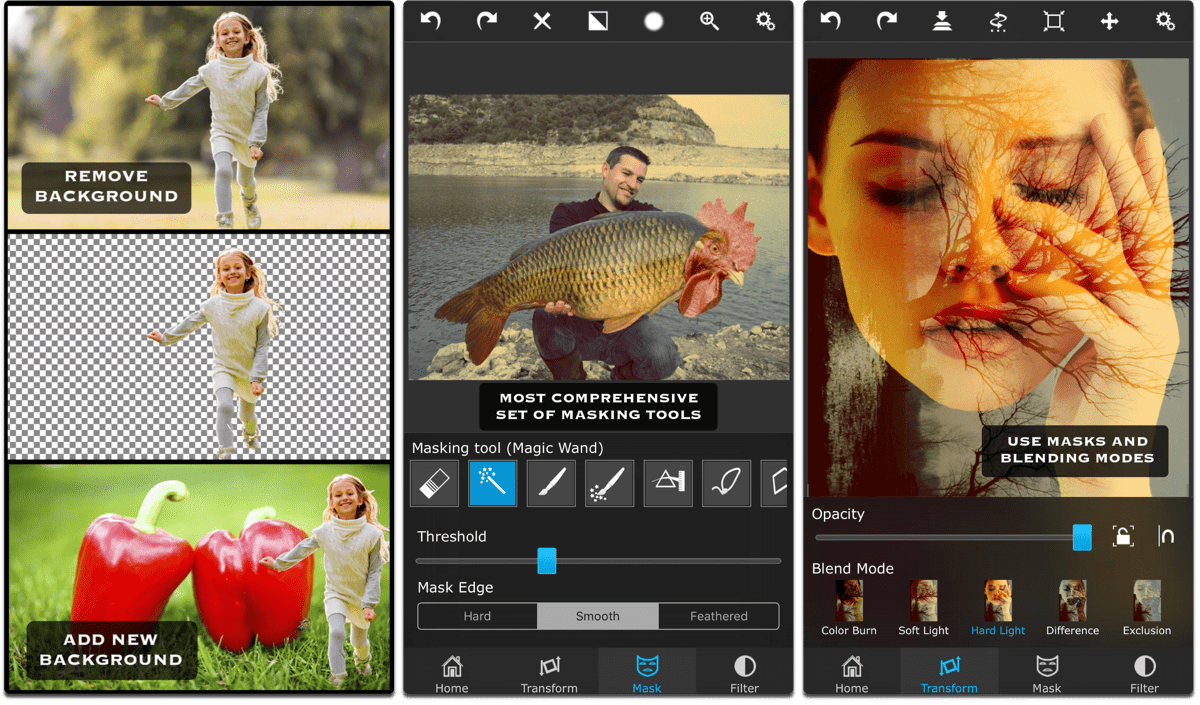 Screenshots of Superimpose, one of the composite image apps.
