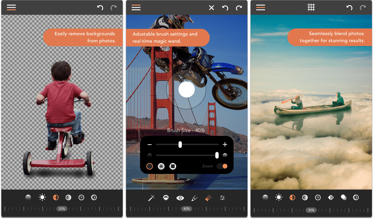 Screenshots of Union, one of the composite image apps.