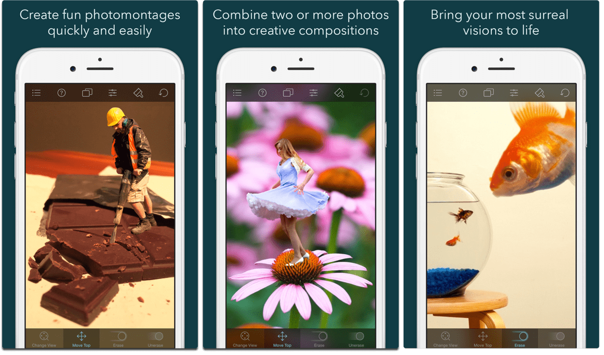 Screenshots of Juxtaposer, one of the composite image apps.