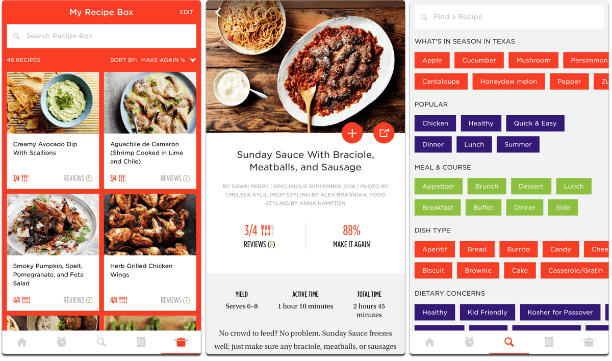 Screenshots of Epicurious, one of the cooking apps.