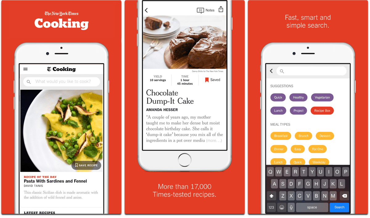 Screenshots of NYT Cooking, one of the cooking apps.