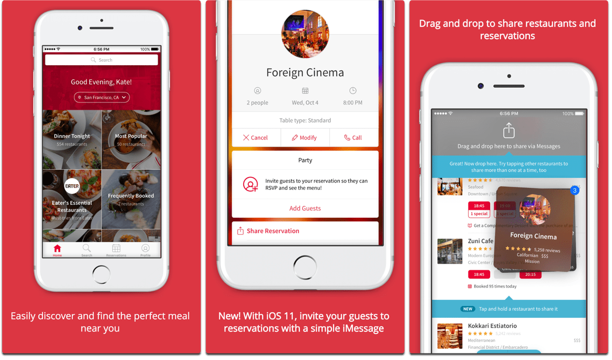 Screenshots of OpenTable, one of the cooking apps.